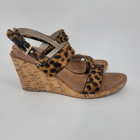 Boden Strap Animal Print Fur Cork Wedges Shoes
